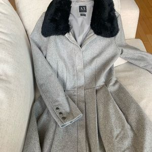 Armani Exchange Wool Coat with Faux Fur Collar